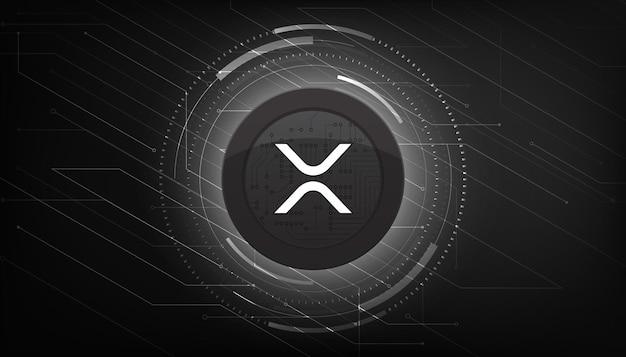 Ripple moneta lub ikona xrp na nowoczesnym czarnym tle