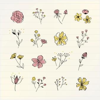 Różnorodni kwiaty doodle kolekci wektor