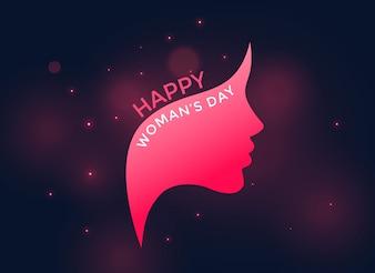 Różowa kobieca twarz na szczęśliwy dzień kobiet