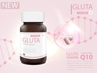 Różowe opakowanie glutationowe z kapsułką