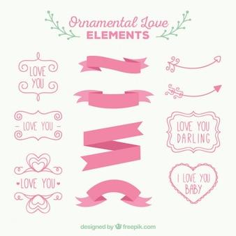 Różowe ozdobne elementy miłosne