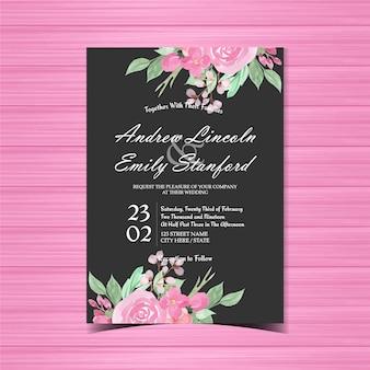 Różowy i czarny kwiatowy zaproszenie na ślub