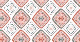Różowy zielony geometryczny wzór w stylu afrykańskim