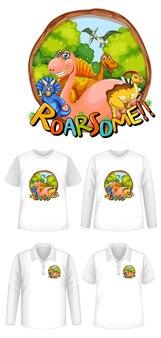 Roar niektóre czcionki i logo postaci z kreskówek dinosaur z różnymi rodzajami koszul