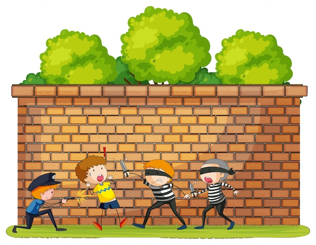 Robbery scena z ofiarą i przestępcami