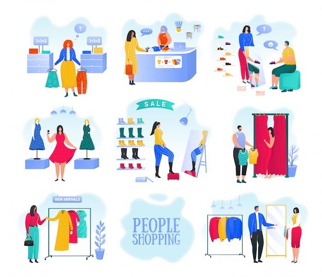 Robiąc zakupy w sklepie z modą, kobiety wybierają i kupują stylowe ubrania w sklepie odzieżowym lub zestaw ilustracji butiku z odzieżą. kobiety kupujące ubrania w sklepie. moda i rynek masowy.