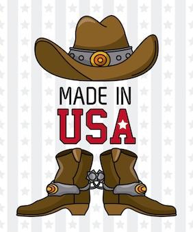 Robić w usa kowbojskim kapeluszu z buta wektorowym ilustracyjnym graficznym projektem