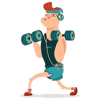 Robienie ćwiczeń fitness z hantlami. śliczny postać z kreskówki odizolowywający na bielu.