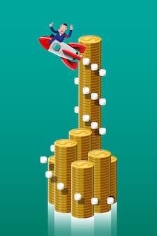 Robienie interesów z dobrymi pomysłami to jak rakieta wycelowana w szczyt wykresu wyraźnie i szybko. ilustracja w stylu 3d