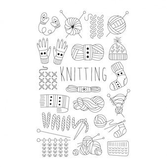 Robienie na drutach. czarno-biały ręcznie rysowane zestaw.