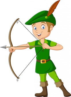Robin hood kreskówka trzyma łuk