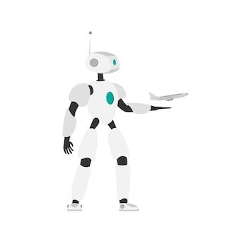Robor wystrzeliwuje samolot w powietrze. koncepcja zakupu i rezerwacji biletów lotniczych online. wektor.