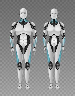 Robot android realistyczna kompozycja 3d z przezroczystymi i pełnowymiarowymi obrazami podobnych do ludzkich robotów