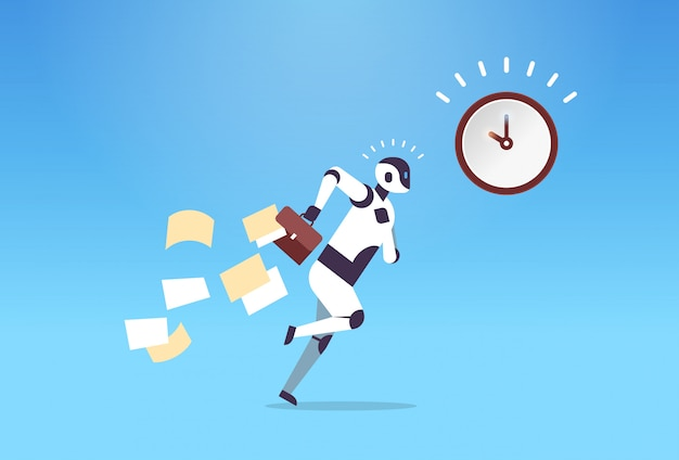 Robot biznesowy biegający ze spadającymi dokumentami z terminów zarządzania czasem teczki sztuczna inteligencja