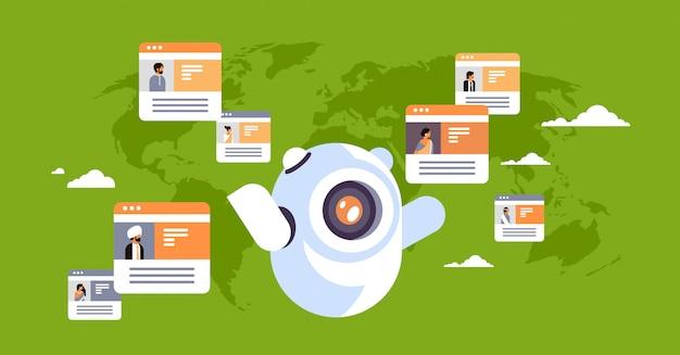Robot chatbot online komunikator indyjski ludzie globalny komunikacja banner