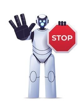 Robot cyborg trzymający czerwony znak stopu postać robota pokazująca gest ręką zakazujący wejścia technologia sztucznej inteligencji
