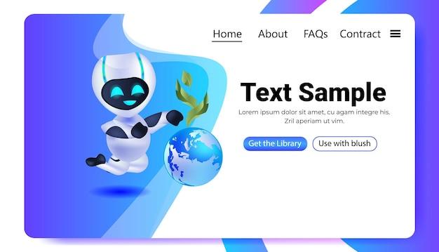 Robot cyborg trzymający kulę ziemską uratuj planetę sztuczna inteligencja koncepcja technologii pozioma kopia przestrzeń ilustracji wektorowych