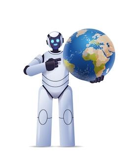 Robot cyborg trzymający planetę ziemia kula ziemska nowoczesny charakter robota technologia sztucznej inteligencji
