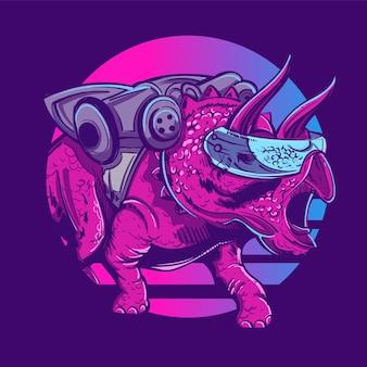Robot dinozaur triceratops na tle słońca w stylu lat 80.