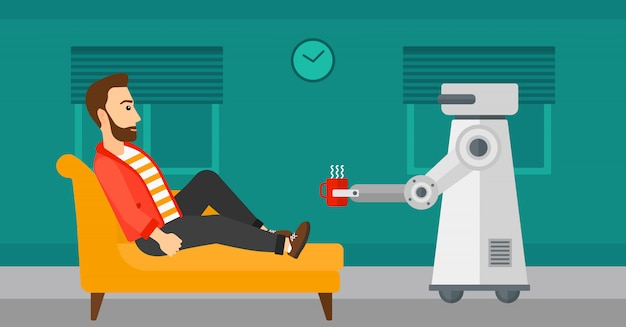 Robot domowy przynosi filiżankę kawy swojemu właścicielowi.