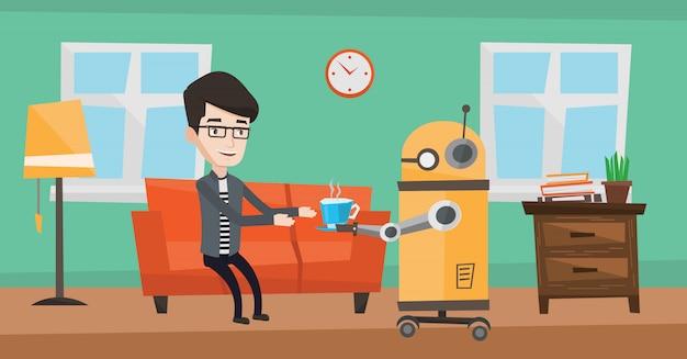 Robot domowy przynosi właścicielowi filiżankę kawy.