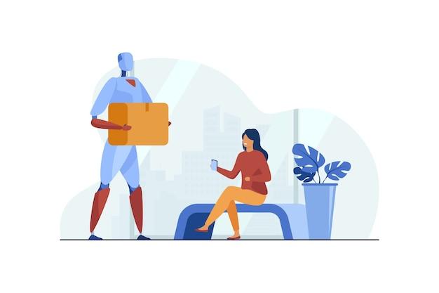 Robot dostarcza paczkę kobiecie płaska ilustracja.