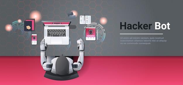 Robot hakujący urządzenia cyfrowe haker komputerowy bot pojęcie danych prywatność atak informacje internetowe