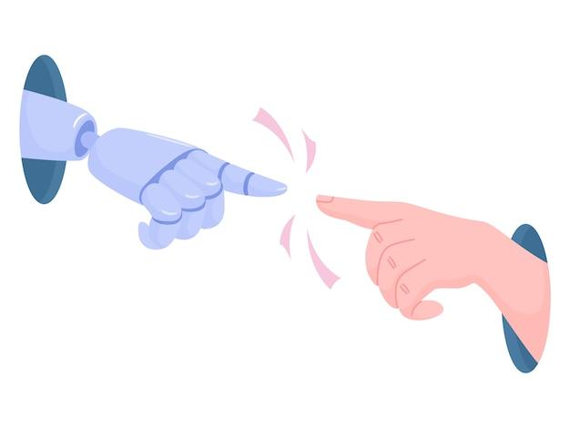 Robot i ludzka ręka sięgają do siebie przez otwory