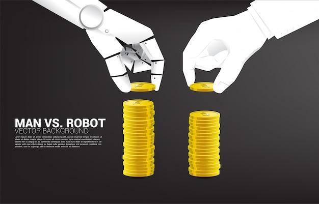 Robot i ludzka ręka układają monetę. koncepcja zakłócenia działalności gospodarczej i ai industrial