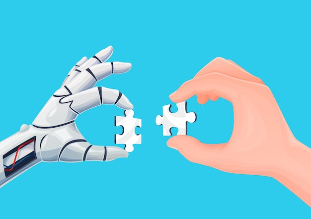 Robot i ludzkie ręce łączące elementy układanki. koncepcja wektora technologii sztucznej inteligencji, cyfrowa przyszłość i automatyzacja pracy, rozwiązywanie problemów i współpraca z ai