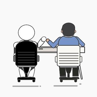 Robot i mężczyzna pracujący razem