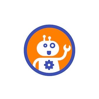 Robot, ikona wsparcia bota na białym
