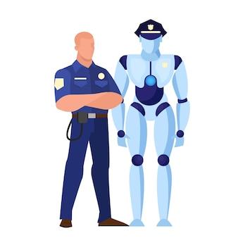 Robot jako policjant. idea sztucznej inteligencji i futurystycznej technologii. charakter robota, prawo i autorytet. ilustracja