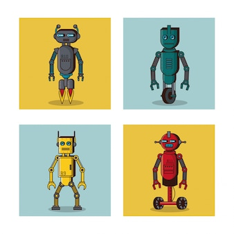 Robot kwadratowych ikon kreskówka