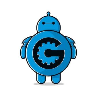 Robot litera g nauka logo inspiracja wektor ilustracja