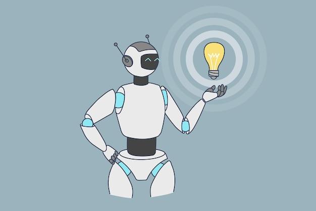 Robot lub humanoid trzymają żarówkę generującą pomysł