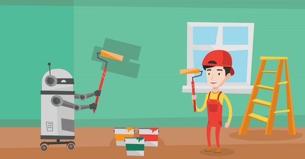 Robot malarz malowanie ścian.