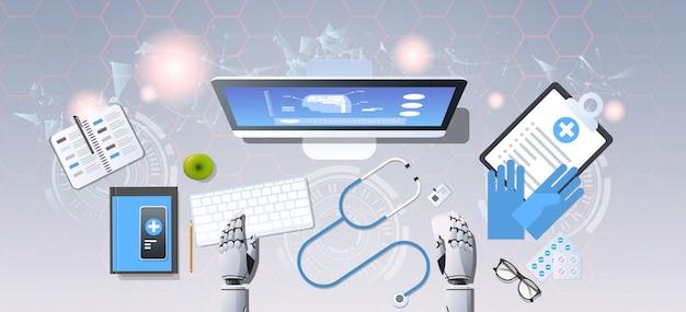 Robot medyczny ręce w miejscu pracy robotyczny lekarz