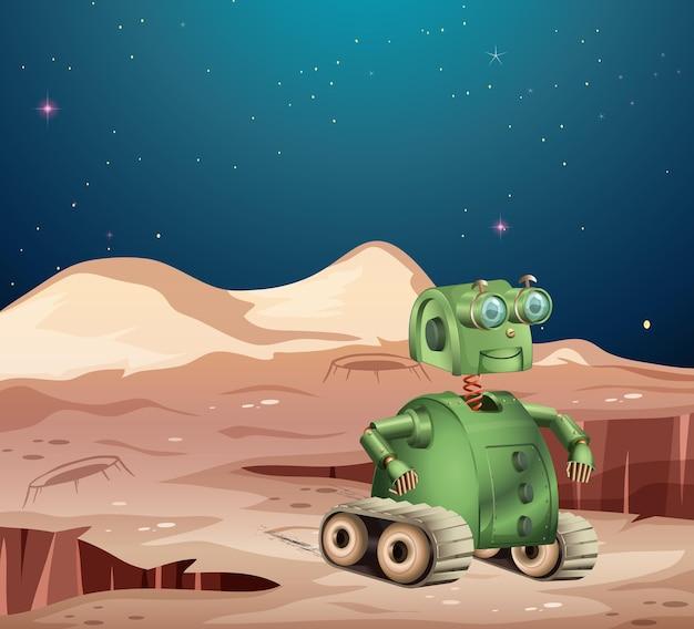 Robot na scenie planety