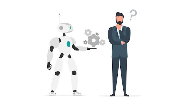 Robot oferuje rozwiązanie. biznesmen z pytaniem. koncepcja pracy zespołowej ludzi i robotów. wektor.