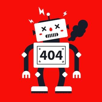 Robot pękł i pali. znak na stronie 404. ilustracja wektorowa płaski charakter.