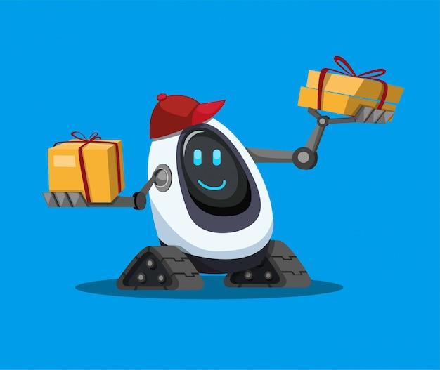Robot pomoc niesie kartonu pakunek, kuriera robota dostawa klient w kreskówka płaskim ilustracyjnym wektorze