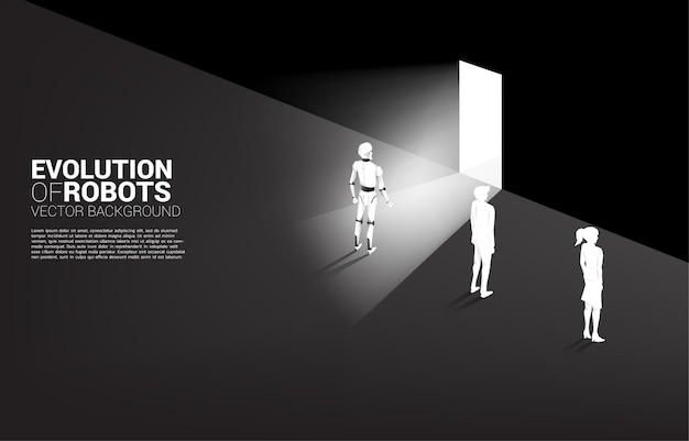 Robot przy drzwiach wyjściowych z człowiekiem ze ścianą. koncepcja biznesowa uczenia maszynowego i sztucznej inteligencji ai. człowiek kontra robot.