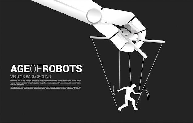 Robot puppet master controlling sylwetka biznesmena. pojęcie wieku manipulacji ai. człowiek kontra maszyna.