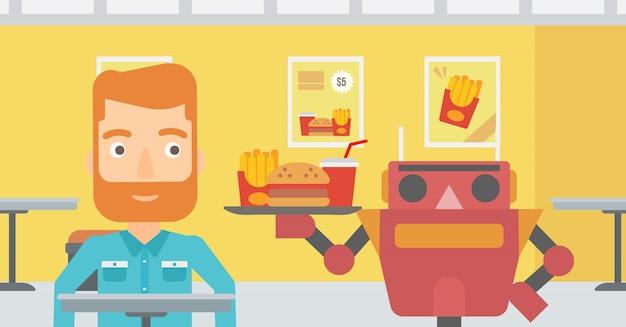 Robot robi kawę dla klienta w kawiarni.