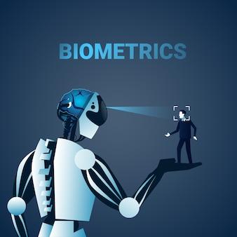 Robot scanning man face biometrics identification kontrola dostępu technologia system rozpoznawania