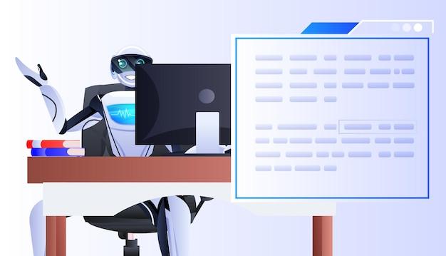 Robot siedzący w miejscu pracy asystenta chatbota z koncepcją sztucznej inteligencji do komunikacji online z dymkiem