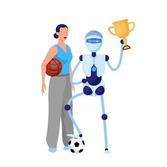 Robot sportowiec i kobieta z piłką. idea sztucznej inteligencji i futurystycznej technologii. ilustracja