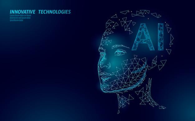 Robot sztucznej inteligencji ai obsługuje 3d. technologia usługi rozpoznawania głosu wirtualnego asystenta. chatbot piękna kobieca twarz low poly