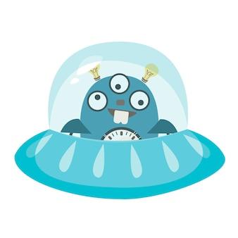 Robot ufo latający spodek zabawna postać obca ilustracja wektorowa w dziecinnym stylu kreskówki